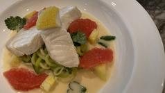 Sea Bass zucchini noodles coconut pineapple sauce grapefruit cilantro