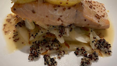Bourbon maple syrup poach salmon with pears fennel , mustard  seeds, quinoa