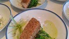 Sesame seared tuna seafood salad lime avocado sauce