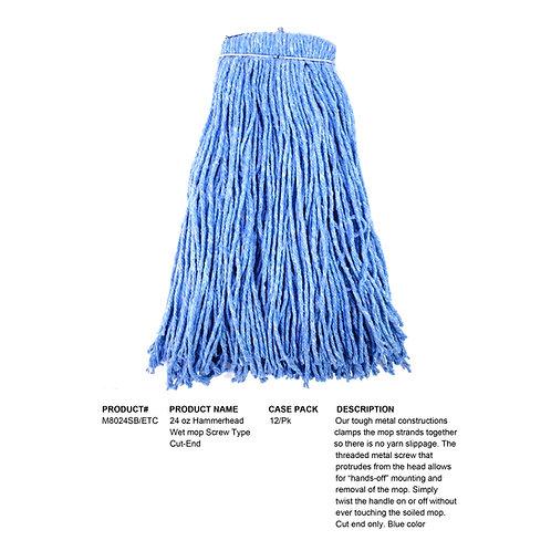 24 oz Hammerhead Wet Mop Screw Type Cut-End