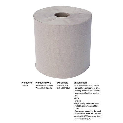 Natural Hard Wound Roll Towel