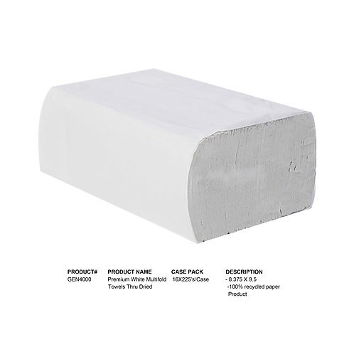 Premium White Multifold Towels Thru Dried