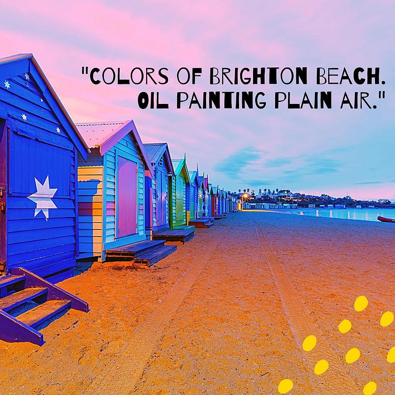 Colors of Brighton Beach. Sunset at the beach. Oil painting plain air.