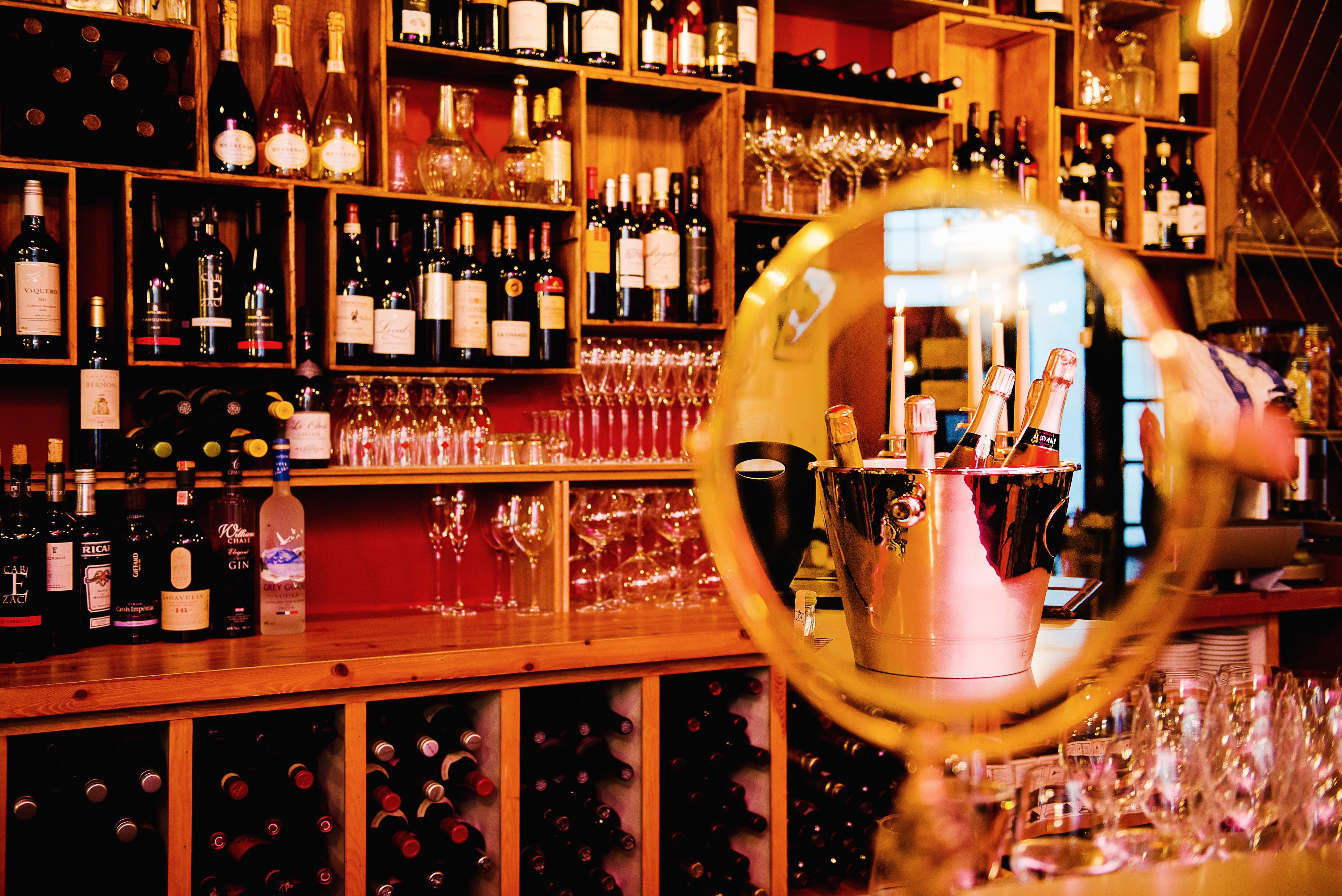 Cellar Magneval bar back of wine