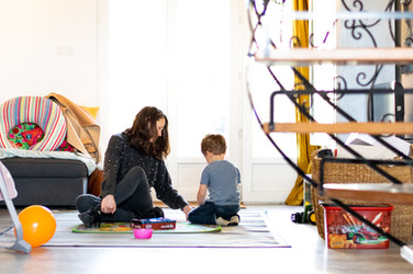 Mum and son play documentary photography