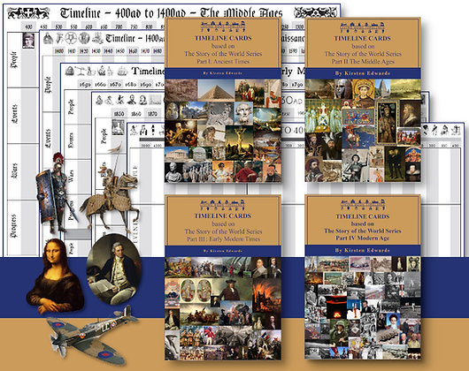 Complete Story of the World (1-4) Timeline Cards and Posters Bundle
