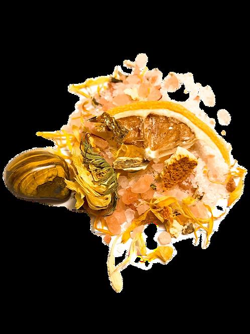 The Sun Ritual Salt Soak w/calendula and 24k gold leaf