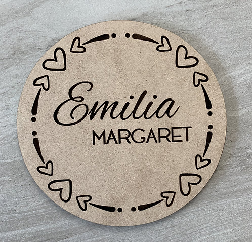Baby Announcement Wooden Round | Personalized | Hearts | Small Wood Sign | New B