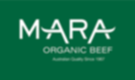 Mara Organic Beef Logo WHITE on GREEN.pn