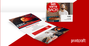 Personalised One Piece Custom Printed Mailer Envelope take away pizza restaurant campaign