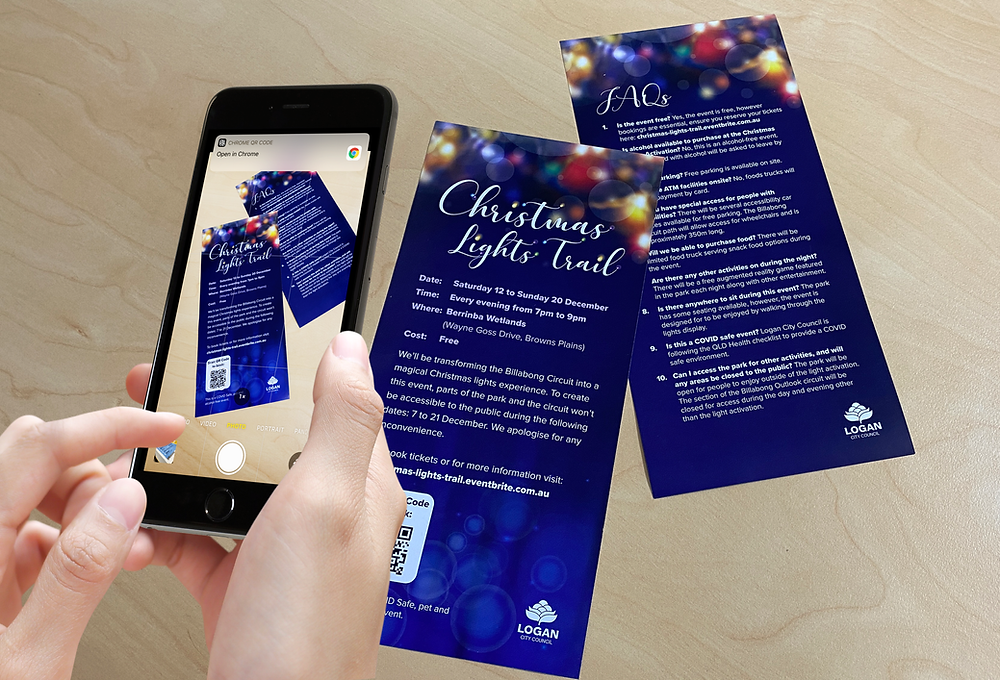 QR Code on DL Brochures for Logan City Council Christmas Lights Trail