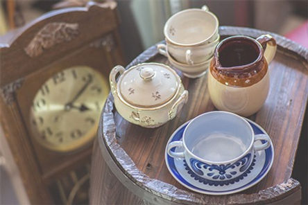 Estate Dispersal Tea Cups Clock and other items