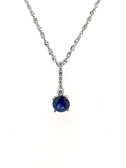 Sapphire and Diamond Pendant on 14kw Chain
