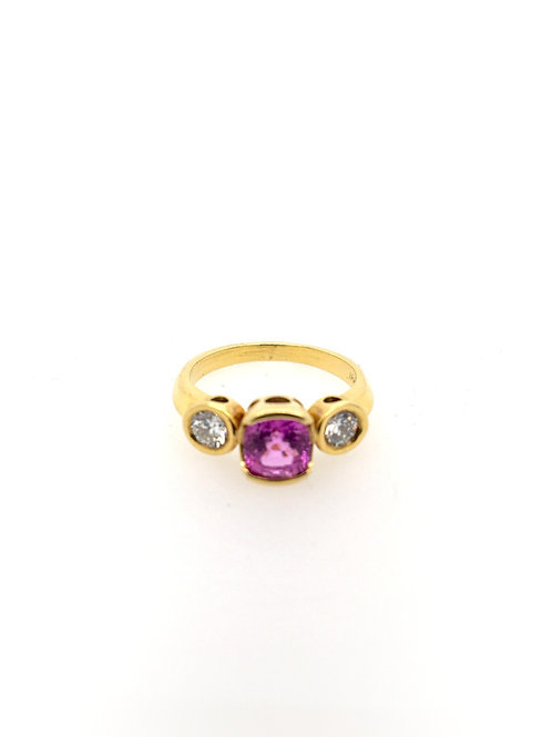 Pink Sapphire and Diamond 18ky Ring