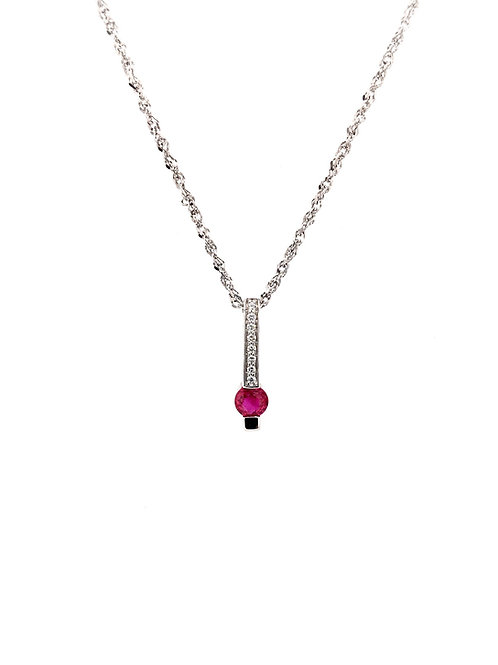 Ruby and Diamond Pendant on 14kw Chain