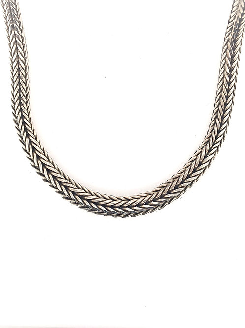Tapered Silver Woven Necklace