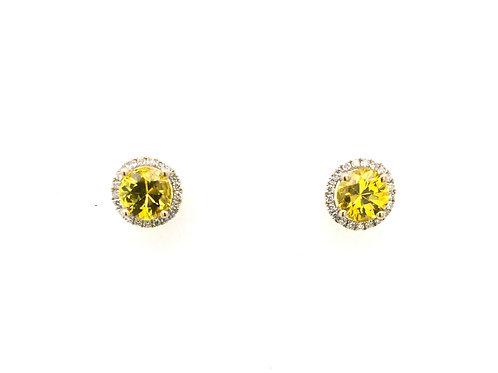 18kw Yellow Sapphire and Diamond Earrings