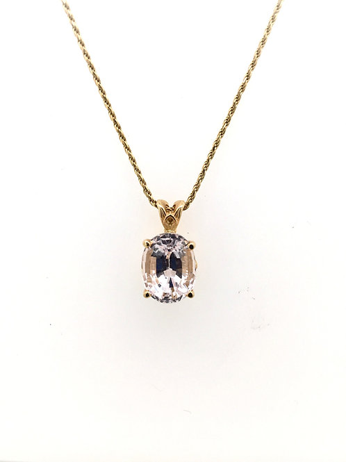 Oval Morganite with 14ky Rope Chain