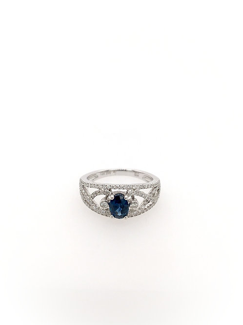 Sapphire and Diamond 14kw Ring