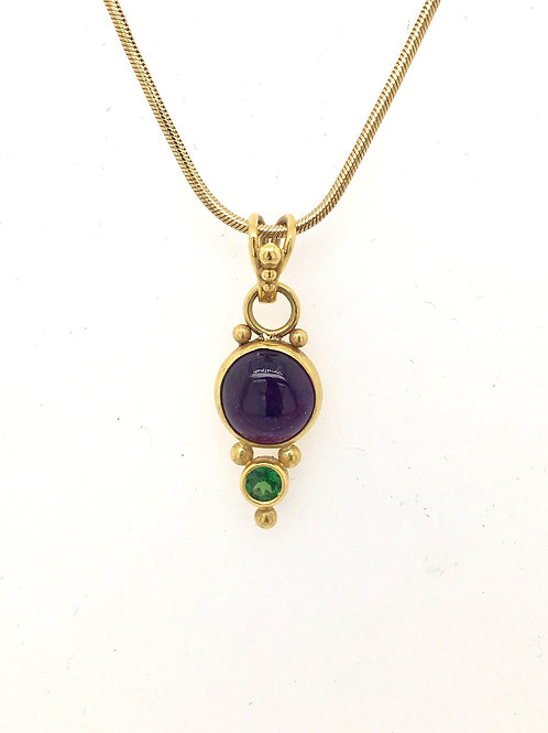 Amethyst and Tsavorite Pendant with Chain