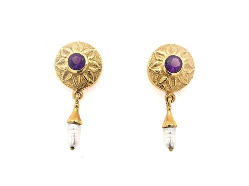Amethyst and Pearl 18ky Earrings