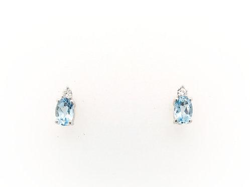 14kw Earrings with Oval Aquamarine with Diamonds