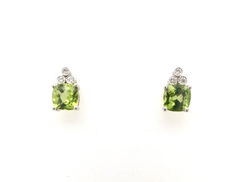 Peridot and Diamond Earrings in 14kw