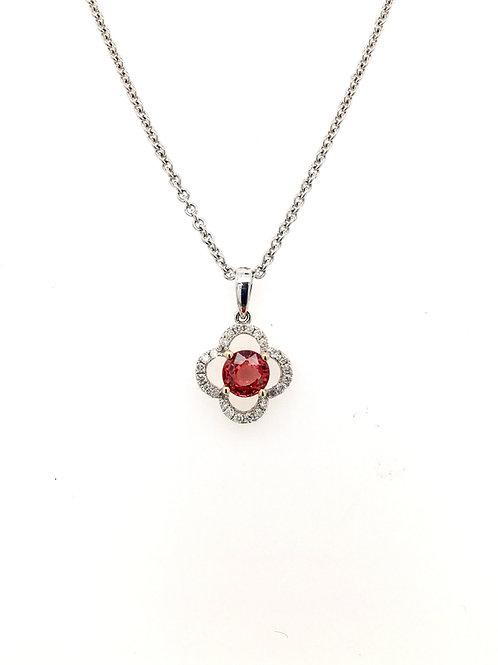 Orange Sapphire and Diamond Pendant on 14kw Chain