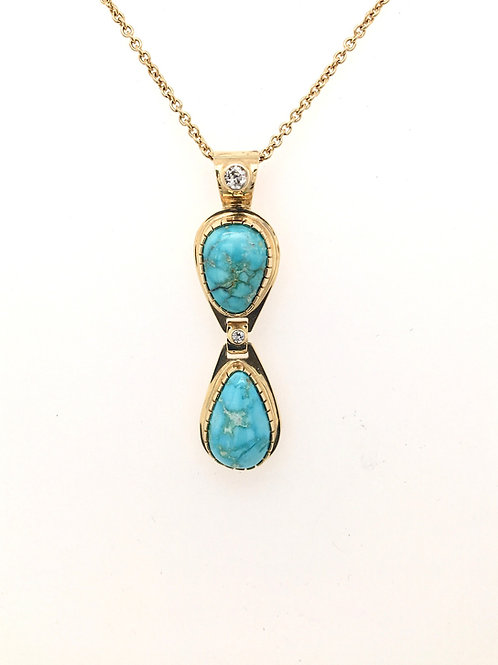 Turquoise and Diamond Pendant with 14KY Chain