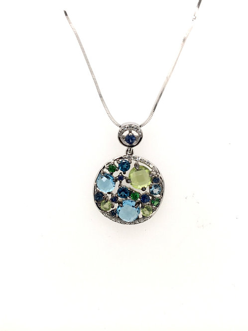 Diamond, Sapphire, and Peridot Pendant on 14kw Snake Chain