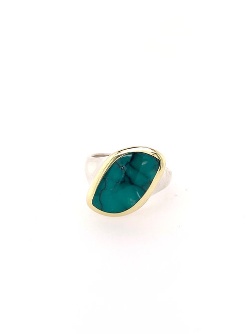 Turquoise , Silver, and 18ky Ring