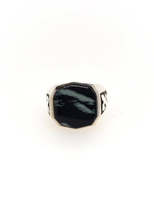 Black Jade in Silver Ring