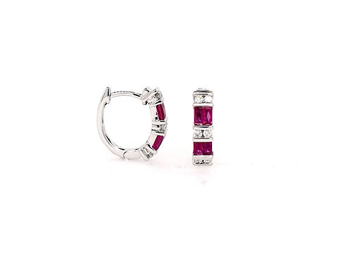 Ruby and Diamond 14kw Earring