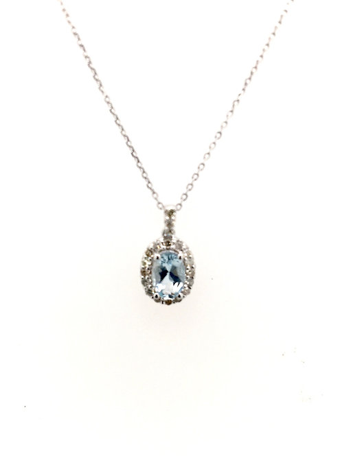 Aquamarine and Diamond Pendant with 14kw Chain