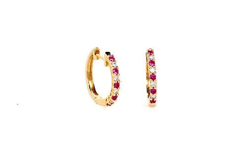 Ruby and Diamond 14ky Earrings
