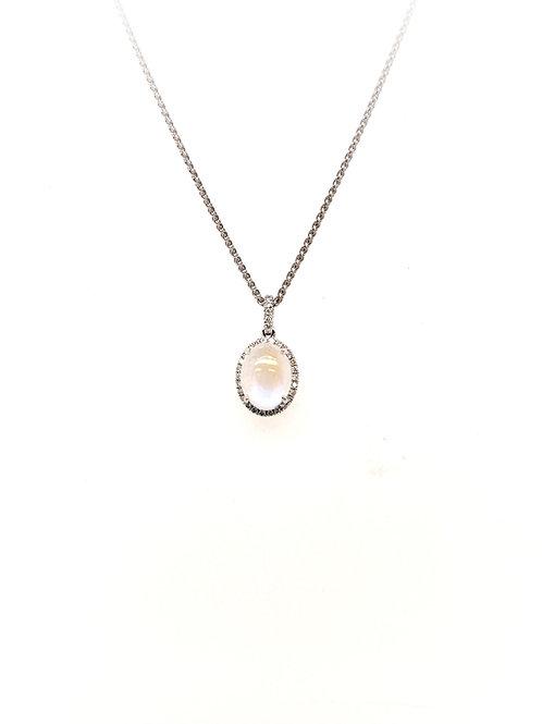 Moonstone and Diamond Pendant on 14kw Chain