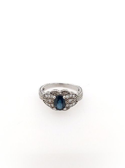 Sapphire and Diamond 14kw Ring