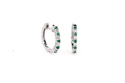 Emerald and Diamond 18kw Earrings