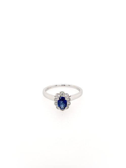 Sapphire and Diamond 18kw Ring