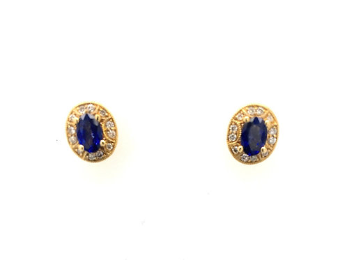 14ky Sapphire and Diamond Earrings