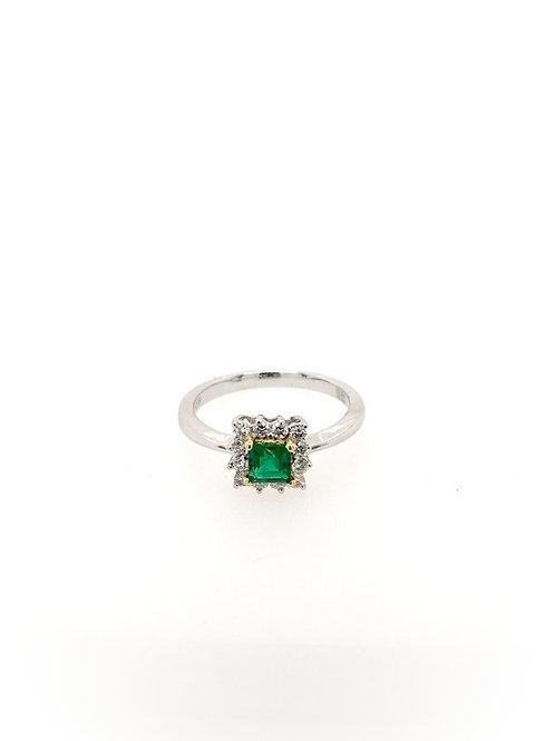 Emerald and Diamond 18kw Ring