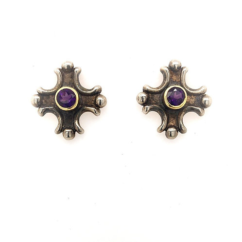 Amethyst and Silver/18ky Earrings