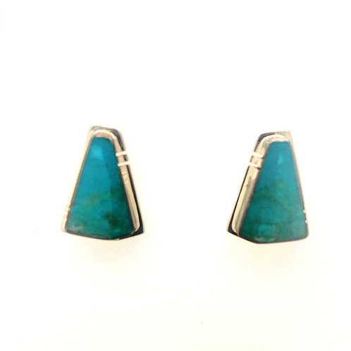 Silver and Chrysocolla Agate Earrings