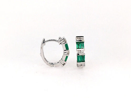 Emerald and Diamond 14kw Earrings