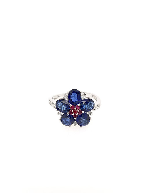 Sapphire, Diamond, and Ruby 14kw Flower Ring