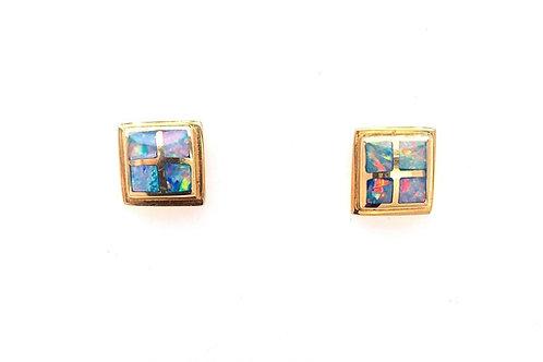 Opal Inlay 14ky Earrings