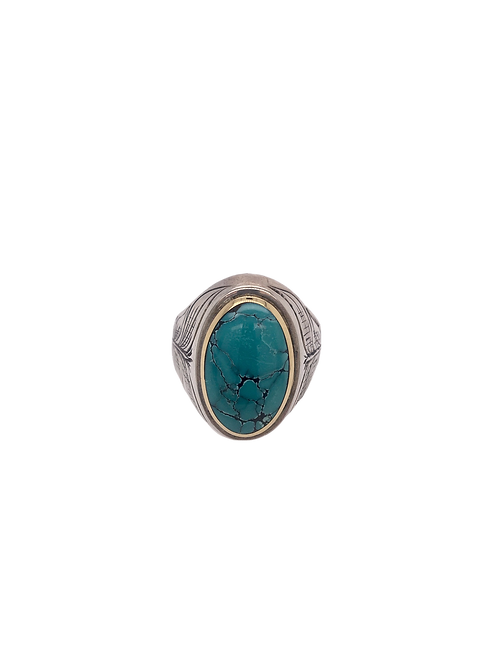 Silver, 14KY, and Turquoise Ring