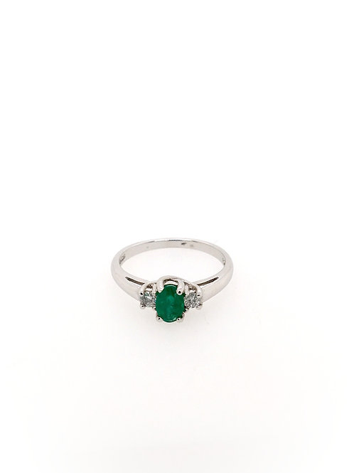 Emerald and Diamond 14kw Ring