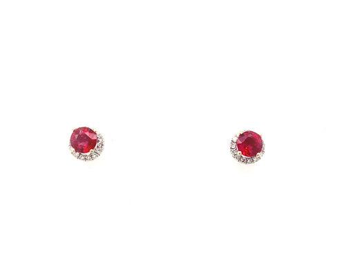 18kw Ruby and Diamond Earrings