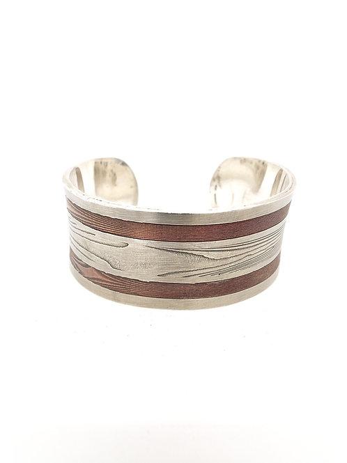 Silver, Copper, and Steel Mokume Cuff